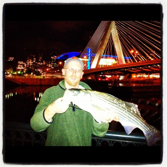 Jason Alves with Charles River striper